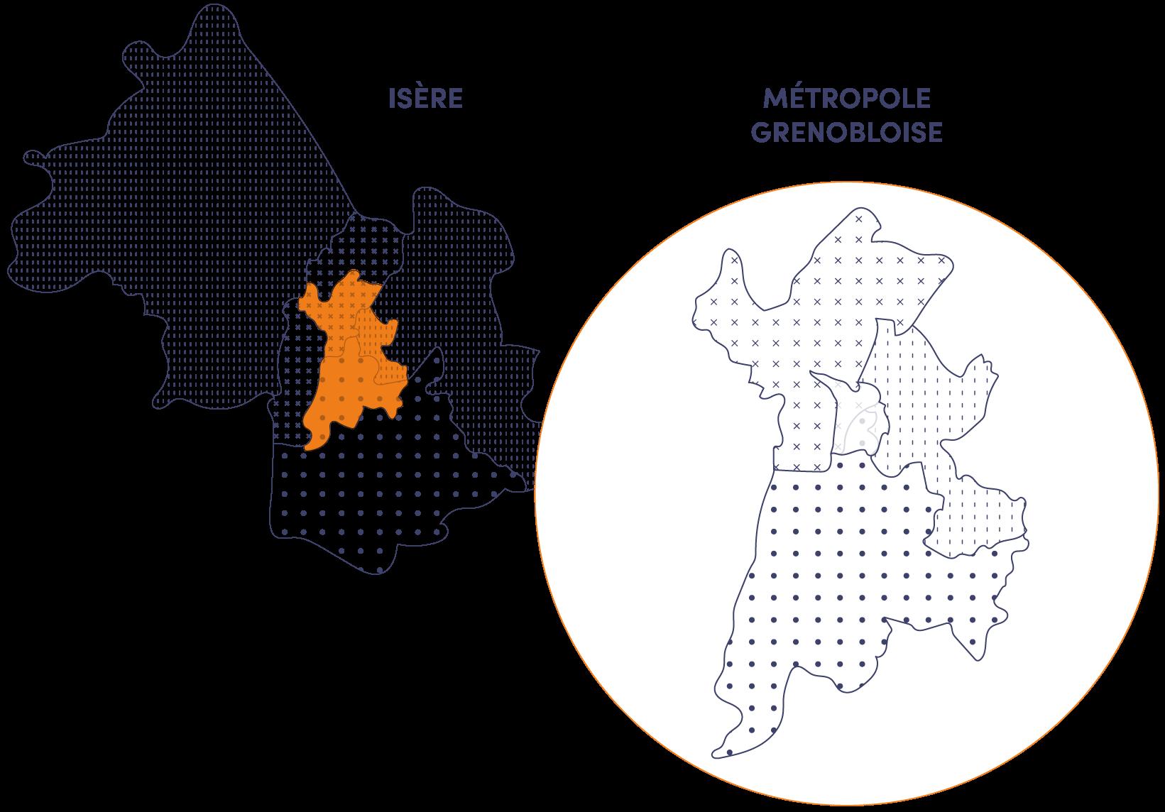 Carte implantation Actis, Office Public de l'Habitat de la région grenobloise